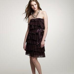 NWT J. Crew Crinkle Cascade Strapless Dress